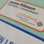 Name, job title, budget badges
